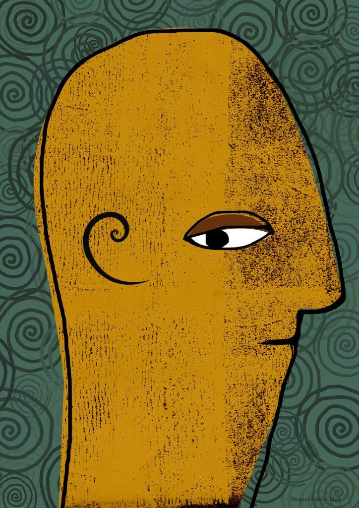ilustración de una cabeza con la espiral aúrea en la oreja