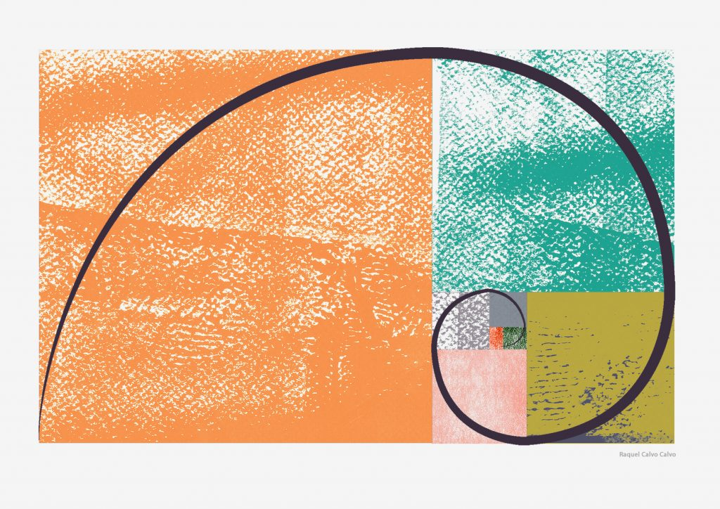 Rectángulo y espiral áurea Ilustración: Raquel Calvo Calvo