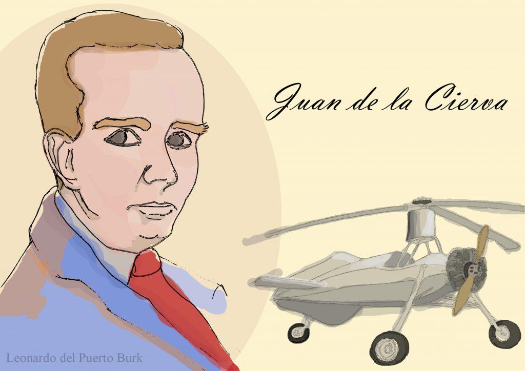 Juan de la Cierva y el autogiro C-40. Ilustrador: Leonardo del Puerto
