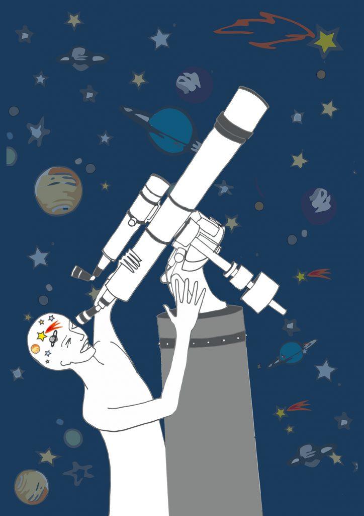 La astronomía se encarga del ámbito de lo infinitamente grande. Ilustradora: Pilar Barrios
