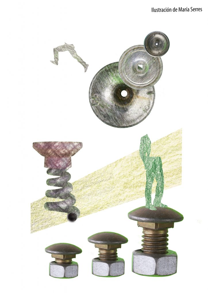 varias piezas: tuercas, tapas, etc., se combinan