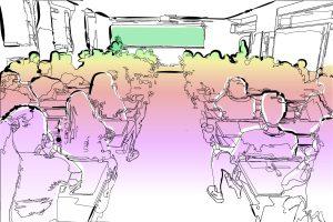 Perspectiva de una clase donde el color invade a los alumnos desde la posición del profesor