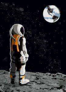 Ilustración de astronauta obserba la tierra desde la luna
