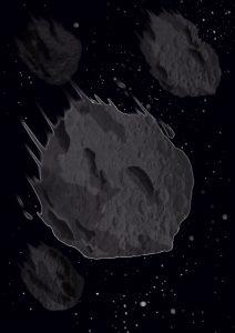 Ilustración de meteorito