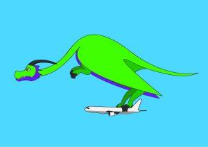 ilustración de un dragón llevando un avión agarrado por las pezuñas