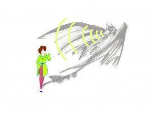 Ilustración de persona que percibe los ultrasonidos