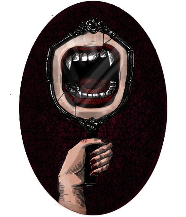 reflejo en el espejo de colmillos enormes
