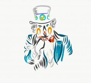 Pingüino rey vestido como el tío Sam te invita a cuidar el medioambiente del cambio climático.