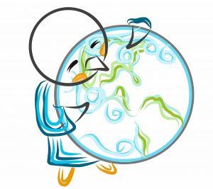 Pingüino rey abrazando la Tierra, su hogar y nuestro, amenazado por el cambio climático.