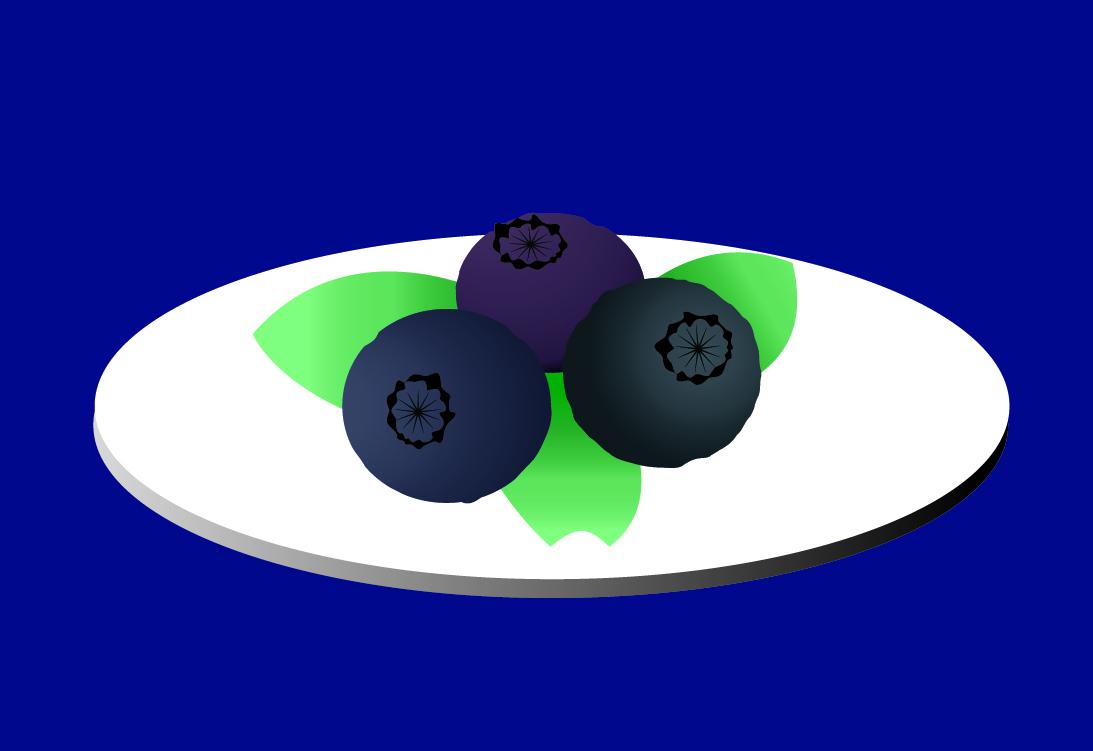 Ilustración de 3 arándanos en un plato blanco con tres hojas verdes