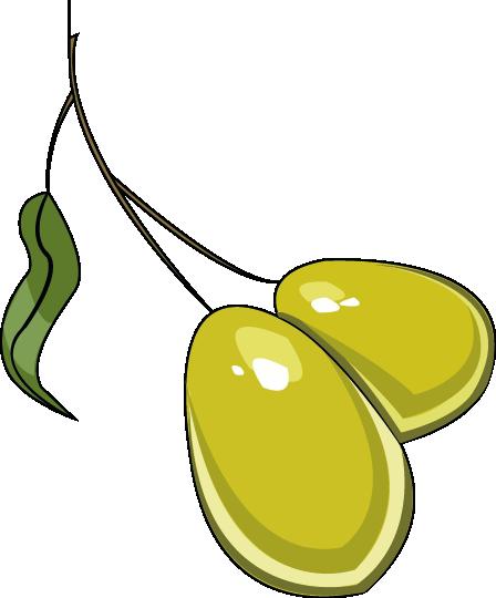 Ilustración de dos aceitunas verde en ramita