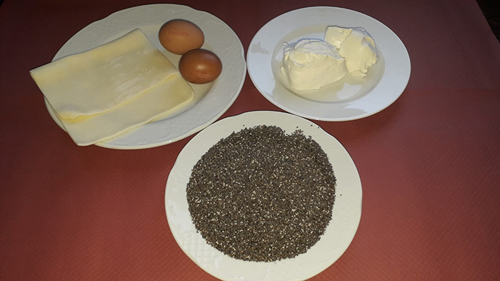 Ingredientes de la crema de queso con chía